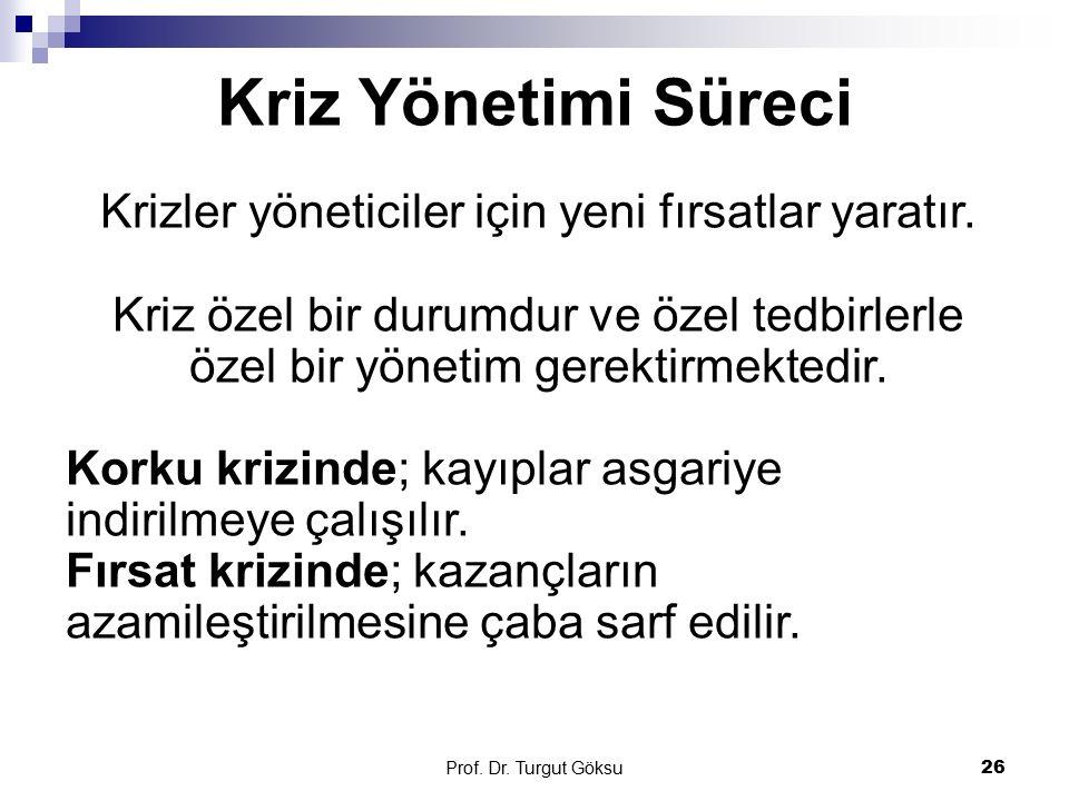 Kriz Yönetimi Süreci Prof. Dr. Turgut Göksu 26 Krizler yöneticiler için yeni fırsatlar yaratır. Kriz özel bir durumdur ve özel tedbirlerle özel bir yö