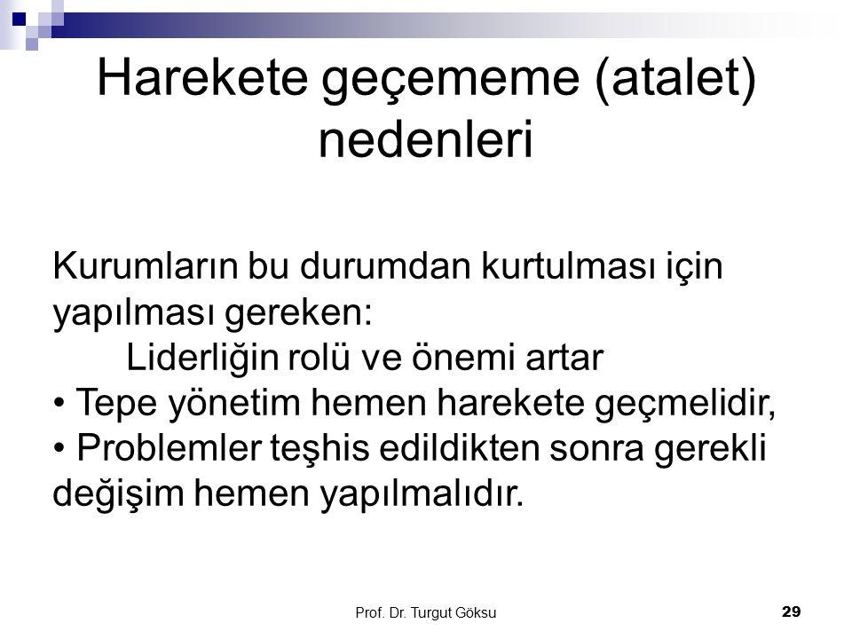 Harekete geçememe (atalet) nedenleri Prof. Dr. Turgut Göksu 29 Kurumların bu durumdan kurtulması için yapılması gereken: Liderliğin rolü ve önemi arta