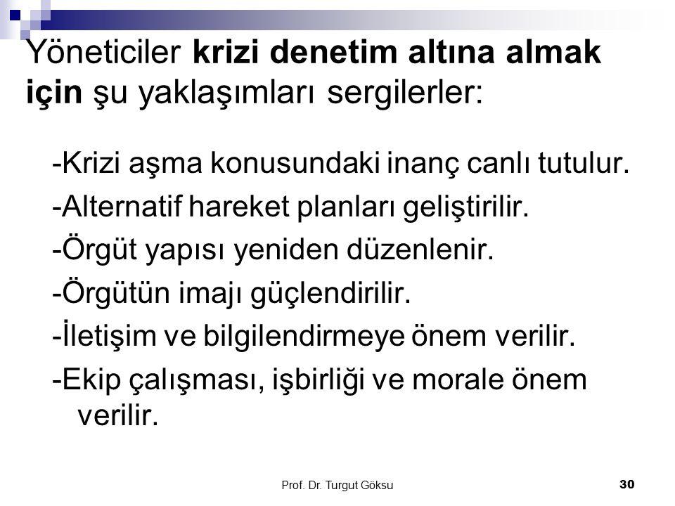 Prof. Dr. Turgut Göksu 30 Yöneticiler krizi denetim altına almak için şu yaklaşımları sergilerler: -Krizi aşma konusundaki inanç canlı tutulur. -Alter