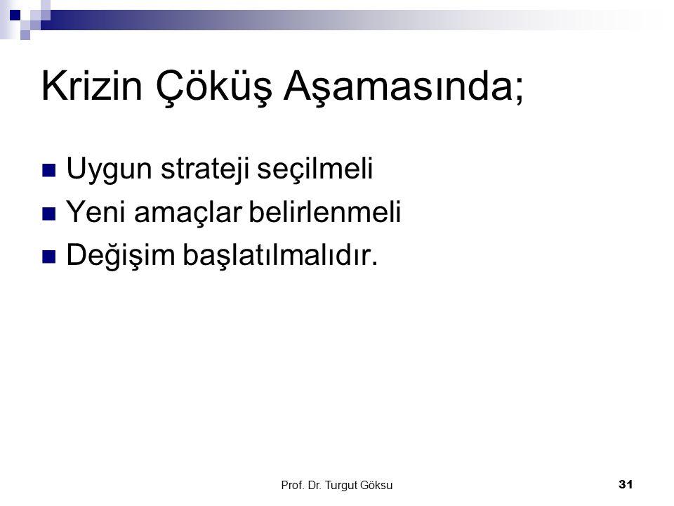 Prof. Dr. Turgut Göksu 31 Krizin Çöküş Aşamasında; Uygun strateji seçilmeli Yeni amaçlar belirlenmeli Değişim başlatılmalıdır.