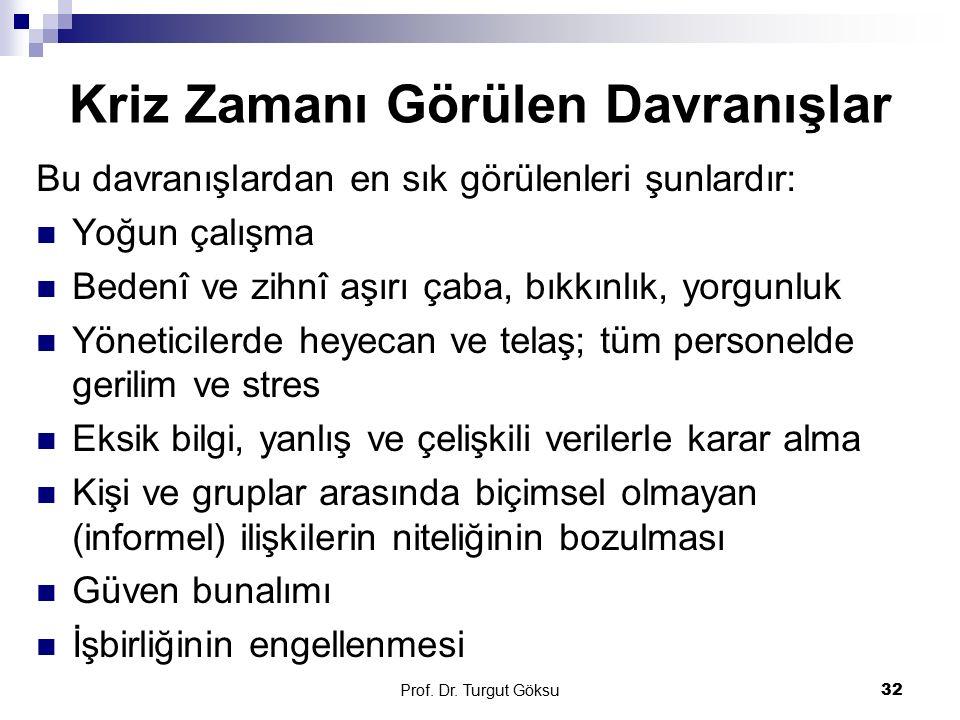 Prof. Dr. Turgut Göksu 32 Kriz Zamanı Görülen Davranışlar Bu davranışlardan en sık görülenleri şunlardır: Yoğun çalışma Bedenî ve zihnî aşırı çaba, bı