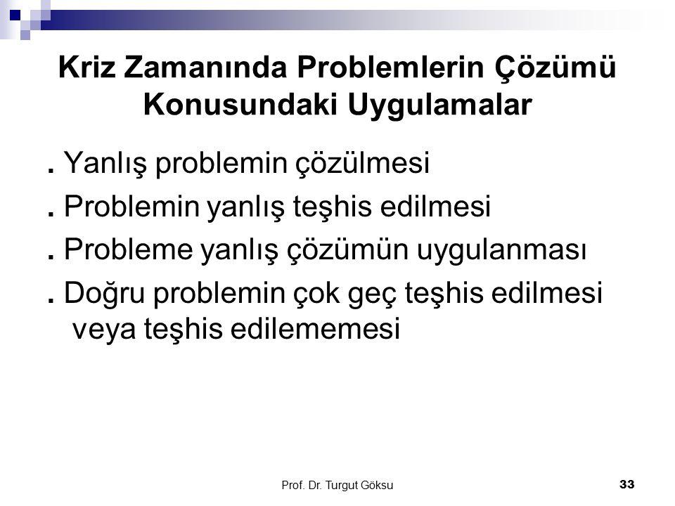 Prof. Dr. Turgut Göksu 33 Kriz Zamanında Problemlerin Çözümü Konusundaki Uygulamalar. Yanlış problemin çözülmesi. Problemin yanlış teşhis edilmesi. Pr
