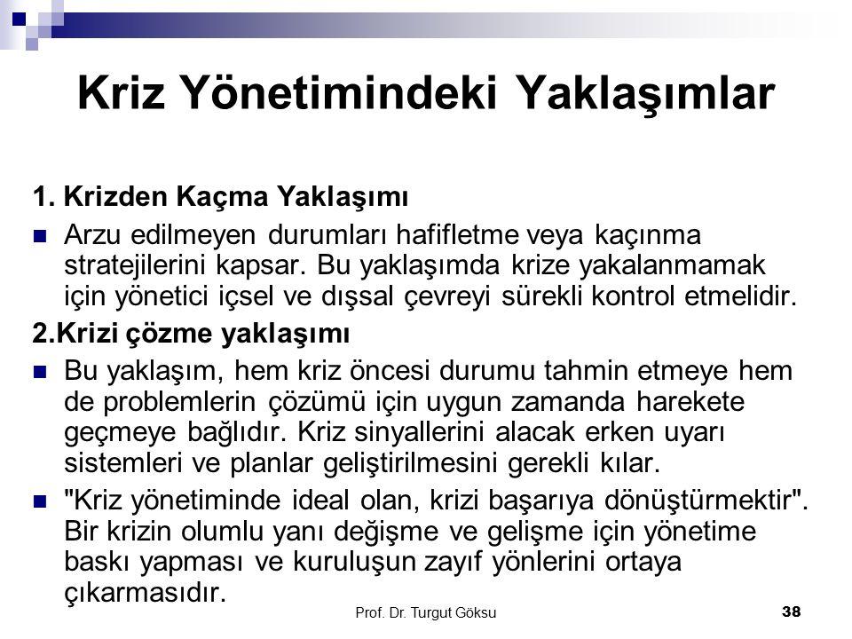 Prof. Dr. Turgut Göksu 38 Kriz Yönetimindeki Yaklaşımlar 1. Krizden Kaçma Yaklaşımı Arzu edilmeyen durumları hafifletme veya kaçınma stratejilerini ka