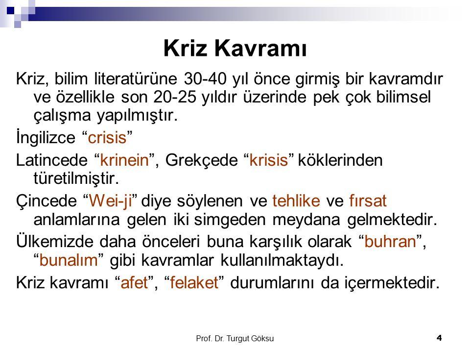 Prof. Dr. Turgut Göksu 4 Kriz Kavramı Kriz, bilim literatürüne 30-40 yıl önce girmiş bir kavramdır ve özellikle son 20-25 yıldır üzerinde pek çok bili