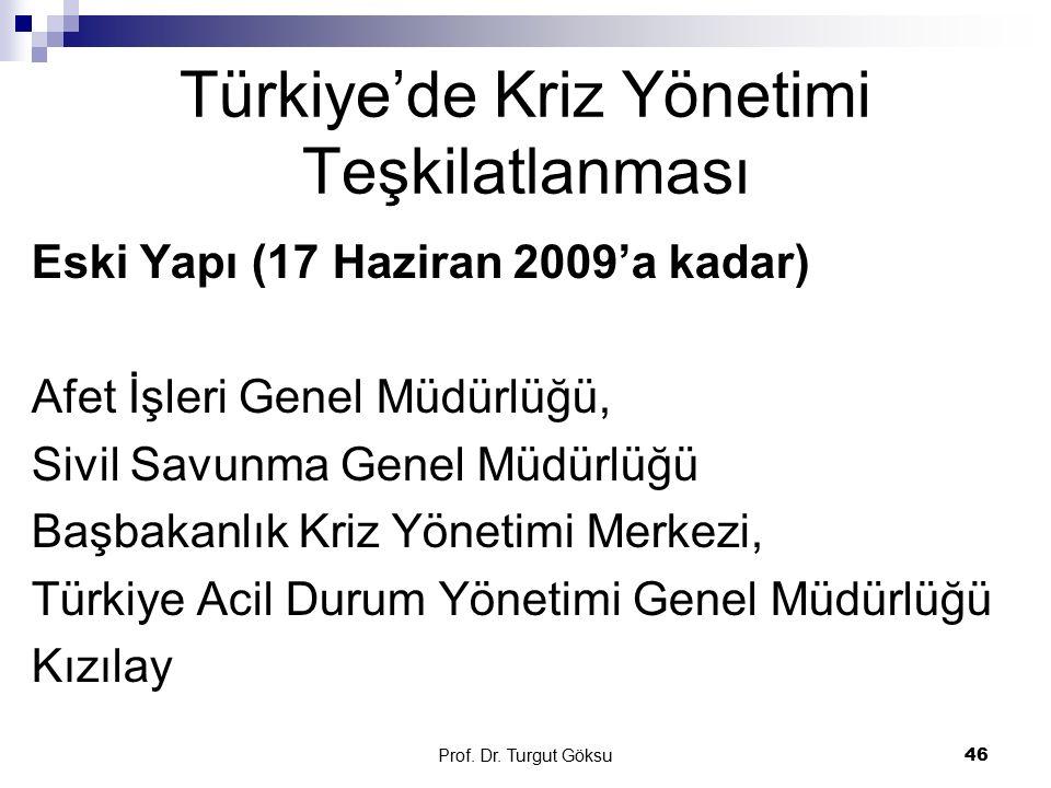 Prof. Dr. Turgut Göksu 46 Türkiye'de Kriz Yönetimi Teşkilatlanması Eski Yapı (17 Haziran 2009'a kadar) Afet İşleri Genel Müdürlüğü, Sivil Savunma Gene