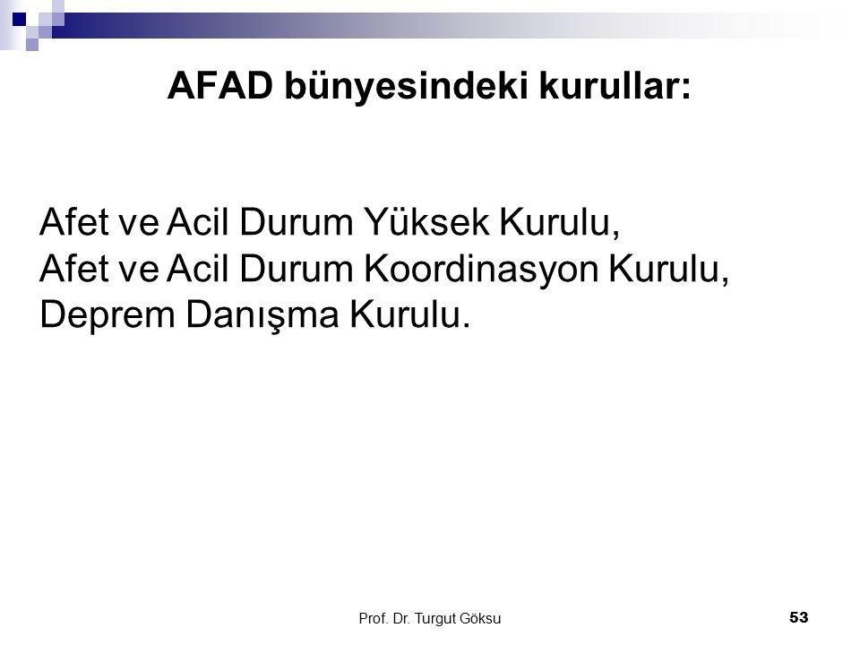 AFAD bünyesindeki kurullar: Prof. Dr. Turgut Göksu 53 Afet ve Acil Durum Yüksek Kurulu, Afet ve Acil Durum Koordinasyon Kurulu, Deprem Danışma Kurulu.