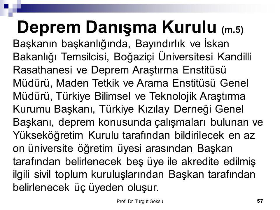 Deprem Danışma Kurulu (m.5) Prof. Dr. Turgut Göksu 57 Başkanın başkanlığında, Bayındırlık ve İskan Bakanlığı Temsilcisi, Boğaziçi Üniversitesi Kandill
