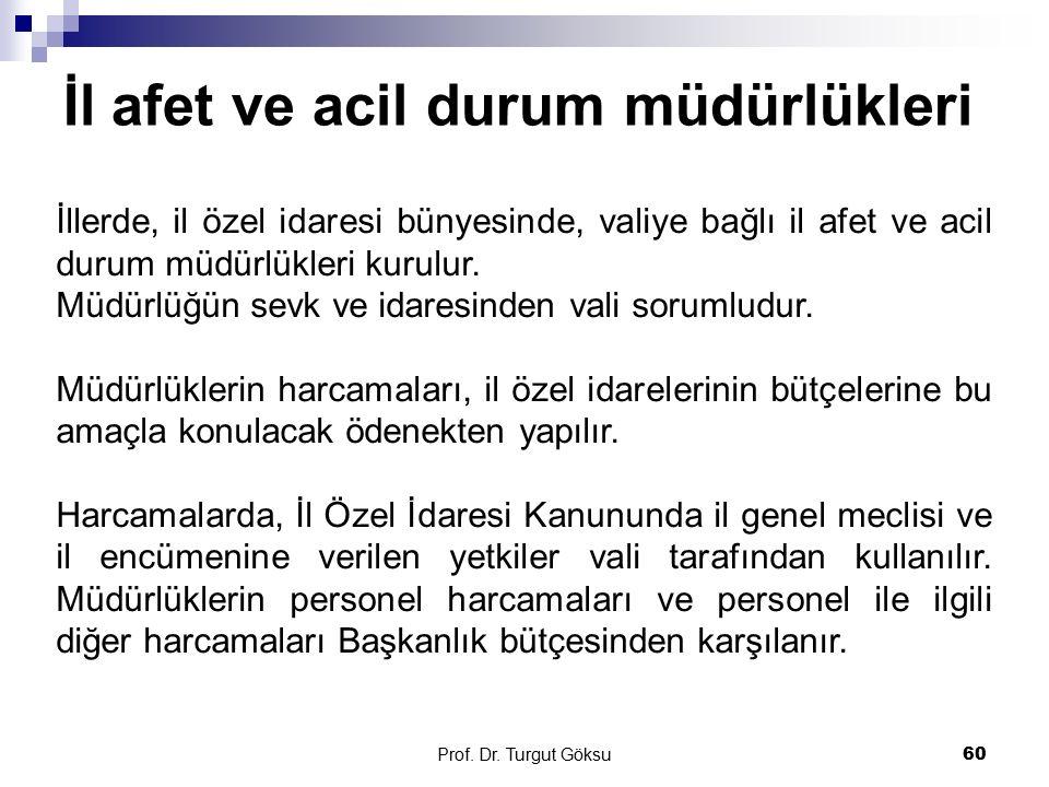 İl afet ve acil durum müdürlükleri Prof. Dr. Turgut Göksu 60 İllerde, il özel idaresi bünyesinde, valiye bağlı il afet ve acil durum müdürlükleri kuru
