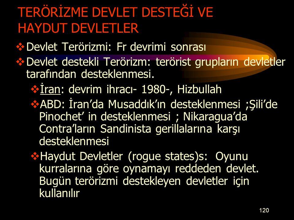 TERÖRİZME DEVLET DESTEĞİ VE HAYDUT DEVLETLER  Devlet Terörizmi: Fr devrimi sonrası  Devlet destekli Terörizm: terörist grupların devletler tarafından desteklenmesi.
