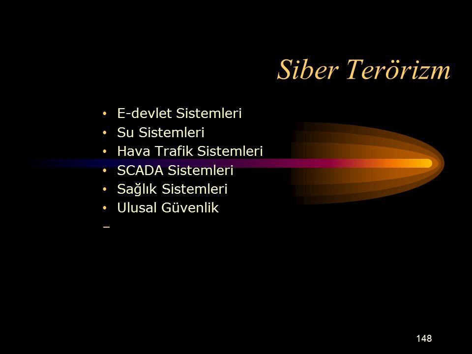 Siber Terörizm E-devlet Sistemleri Su Sistemleri Hava Trafik Sistemleri SCADA Sistemleri Sağlık Sistemleri Ulusal Güvenlik 148