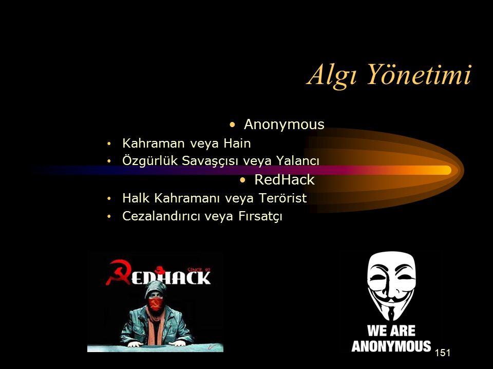 Algı Yönetimi Anonymous Kahraman veya Hain Özgürlük Savaşçısı veya Yalancı RedHack Halk Kahramanı veya Terörist Cezalandırıcı veya Fırsatçı 151