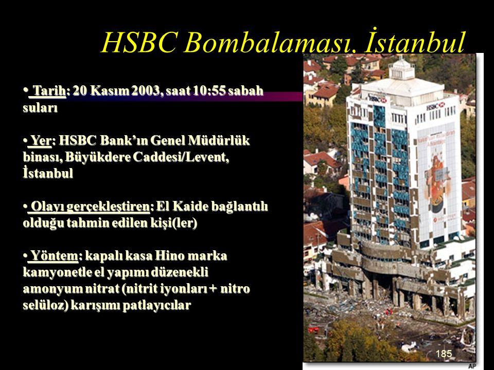 HSBC Bombalaması, İstanbul Tarih: 20 Kasım 2003, saat 10:55 sabah suları Tarih: 20 Kasım 2003, saat 10:55 sabah suları Yer: HSBC Bank'ın Genel Müdürlük binası, Büyükdere Caddesi/Levent, İstanbul Yer: HSBC Bank'ın Genel Müdürlük binası, Büyükdere Caddesi/Levent, İstanbul Olayı gerçekleştiren: El Kaide bağlantılı olduğu tahmin edilen kişi(ler) Olayı gerçekleştiren: El Kaide bağlantılı olduğu tahmin edilen kişi(ler) Yöntem: kapalı kasa Hino marka kamyonetle el yapımı düzenekli amonyum nitrat (nitrit iyonları + nitro selüloz) karışımı patlayıcılar Yöntem: kapalı kasa Hino marka kamyonetle el yapımı düzenekli amonyum nitrat (nitrit iyonları + nitro selüloz) karışımı patlayıcılar 185