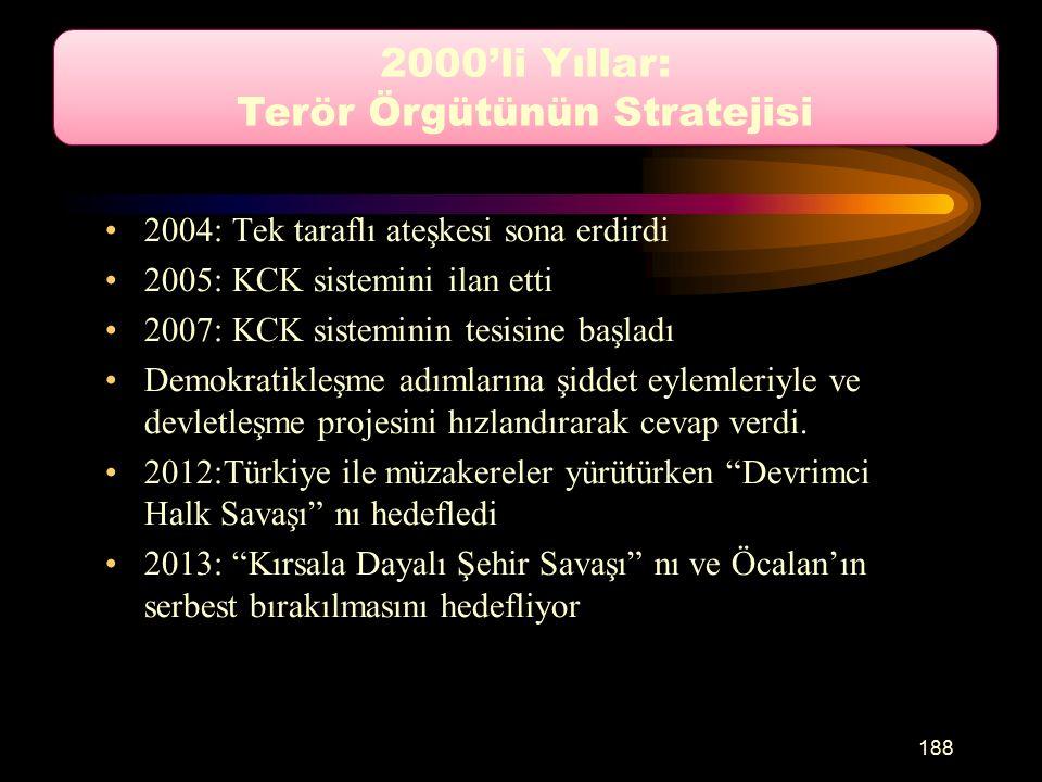 2004: Tek taraflı ateşkesi sona erdirdi 2005: KCK sistemini ilan etti 2007: KCK sisteminin tesisine başladı Demokratikleşme adımlarına şiddet eylemleriyle ve devletleşme projesini hızlandırarak cevap verdi.