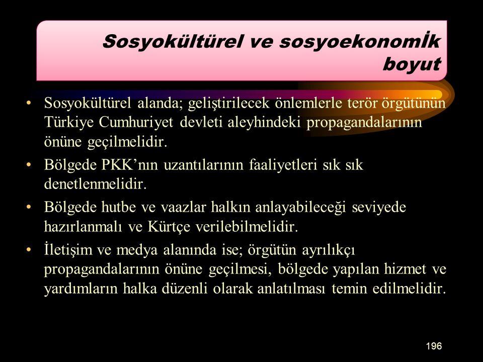 Sosyokültürel alanda; geliştirilecek önlemlerle terör örgütünün Türkiye Cumhuriyet devleti aleyhindeki propagandalarının önüne geçilmelidir.
