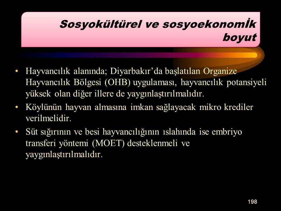 Hayvancılık alanında; Diyarbakır'da başlatılan Organize Hayvancılık Bölgesi (OHB) uygulaması, hayvancılık potansiyeli yüksek olan diğer illere de yaygınlaştırılmalıdır.