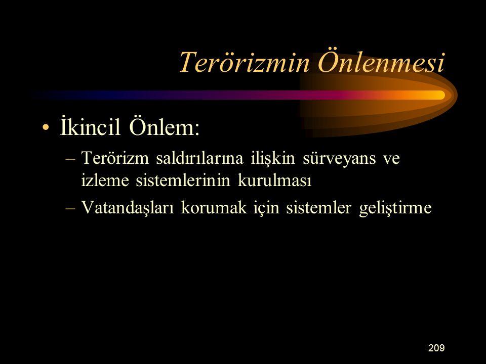 Terörizmin Önlenmesi İkincil Önlem: –Terörizm saldırılarına ilişkin sürveyans ve izleme sistemlerinin kurulması –Vatandaşları korumak için sistemler geliştirme 209