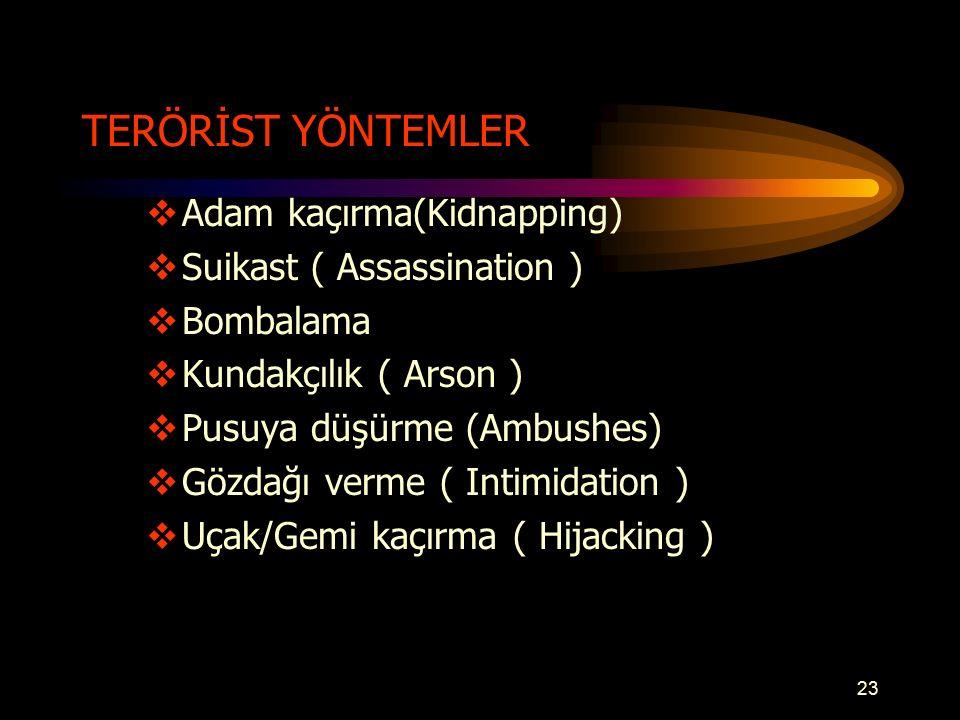 TERÖRİST YÖNTEMLER  Adam kaçırma(Kidnapping)  Suikast ( Assassination )  Bombalama  Kundakçılık ( Arson )  Pusuya düşürme (Ambushes)  Gözdağı verme ( Intimidation )  Uçak/Gemi kaçırma ( Hijacking ) 23