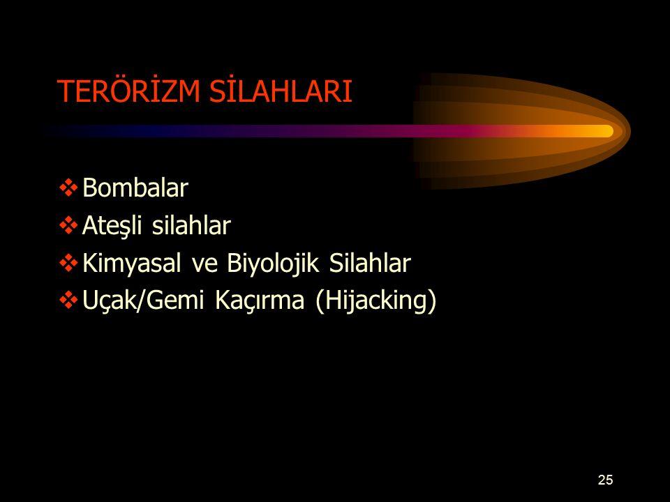 TERÖRİZM SİLAHLARI  Bombalar  Ateşli silahlar  Kimyasal ve Biyolojik Silahlar  Uçak/Gemi Kaçırma (Hijacking) 25