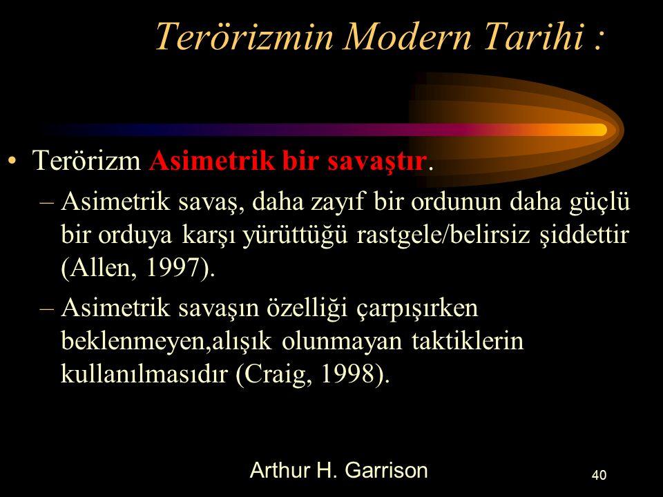 Terörizmin Modern Tarihi : Terörizm Asimetrik bir savaştır.