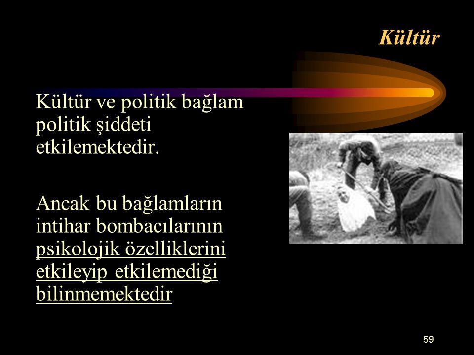 59 Kültür Kültür ve politik bağlam politik şiddeti etkilemektedir.
