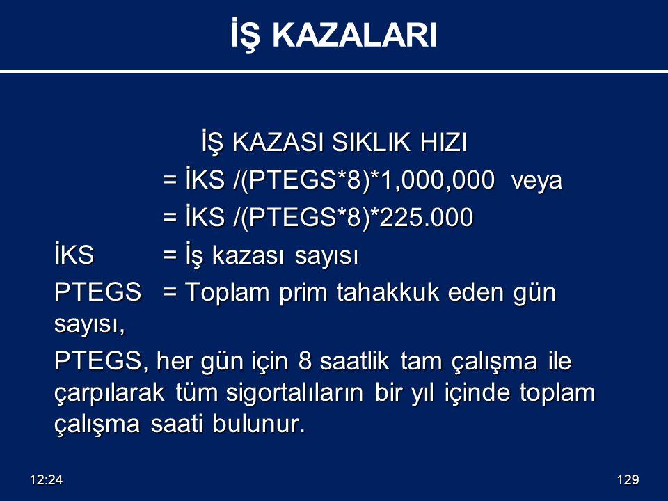 İŞ KAZASI SIKLIK HIZI = İKS /(PTEGS*8)*1,000,000 veya = İKS /(PTEGS*8)*225.000 = İKS /(PTEGS*8)*225.000 İKS = İş kazası sayısı İKS = İş kazası sayısı
