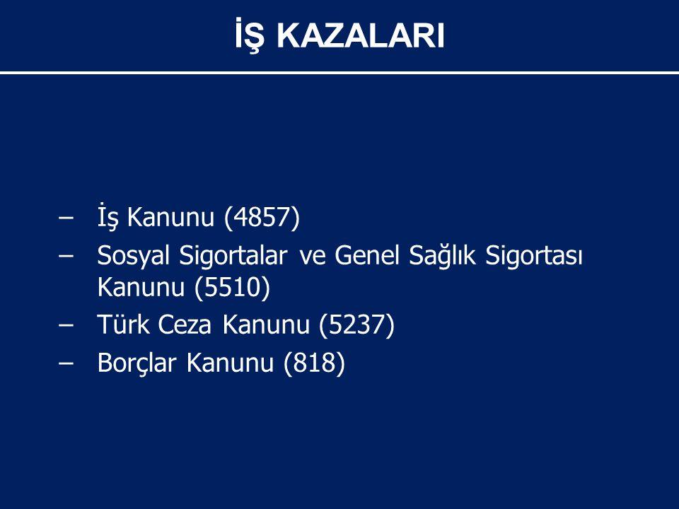 – –İş Kanunu (4857) – –Sosyal Sigortalar ve Genel Sağlık Sigortası Kanunu (5510) – –Türk Ceza Kanunu (5237) – –Borçlar Kanunu (818) İŞ KAZALARI