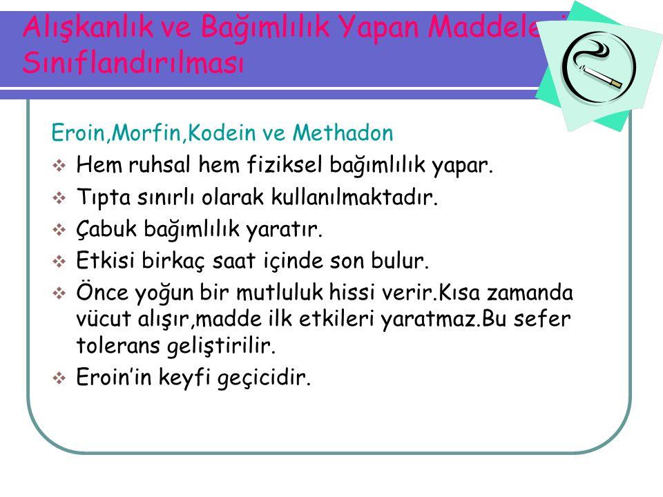 Alışkanlık ve Bağımlılık Yapan Maddelerin Sınıflandırılması Eroin,Morfin,Kodein ve Methadon  Hem ruhsal hem fiziksel bağımlılık yapar.  Tıpta sınırl