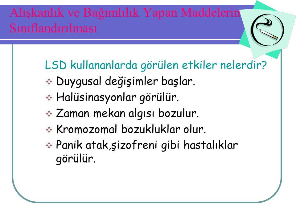 LSD kullananlarda görülen etkiler nelerdir?  Duygusal değişimler başlar.  Halüsinasyonlar görülür.  Zaman mekan algısı bozulur.  Kromozomal bozukl