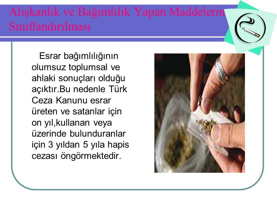 Alışkanlık ve Bağımlılık Yapan Maddelerin Sınıflandırılması Esrar bağımlılığının olumsuz toplumsal ve ahlaki sonuçları olduğu açıktır.Bu nedenle Türk