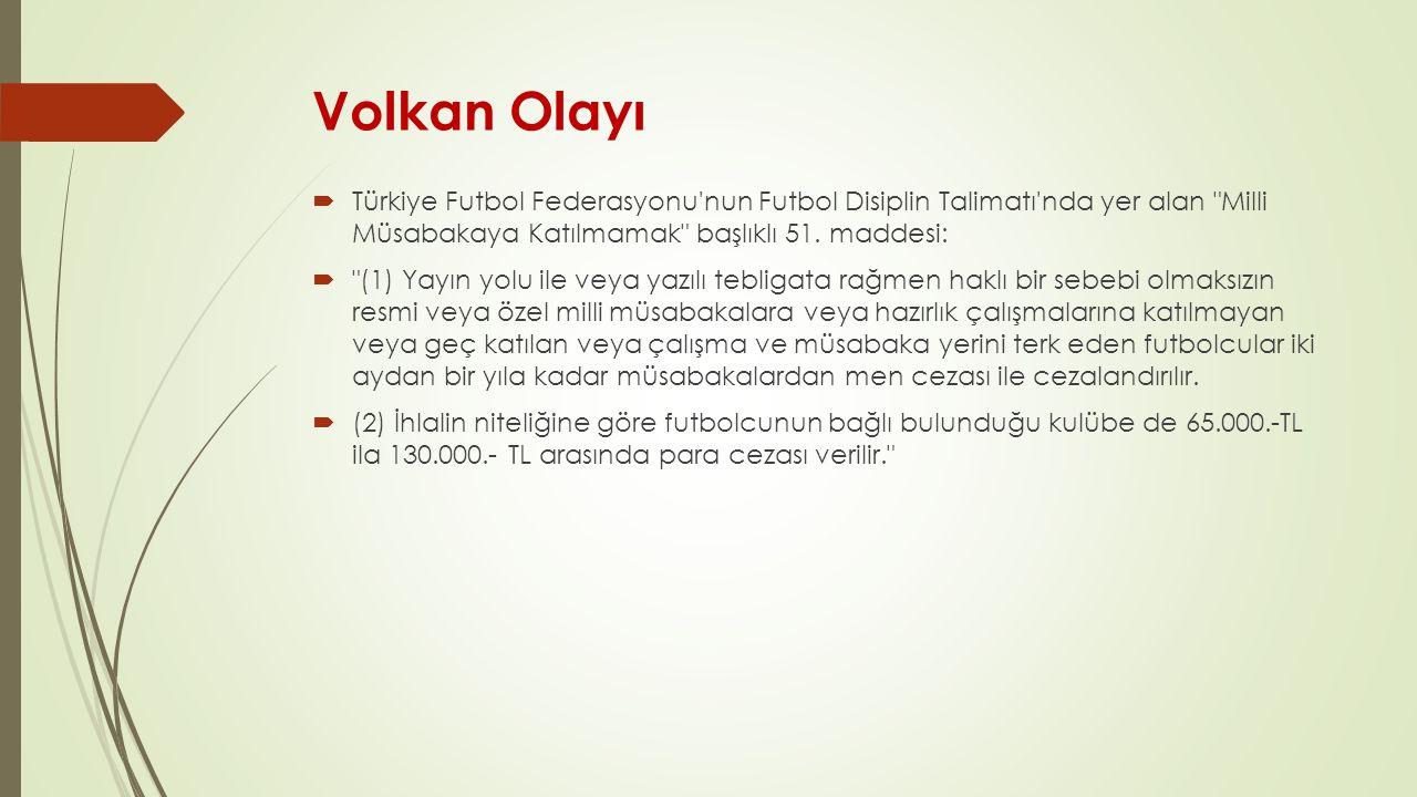 Volkan Olayı  Türkiye Futbol Federasyonu'nun Futbol Disiplin Talimatı'nda yer alan