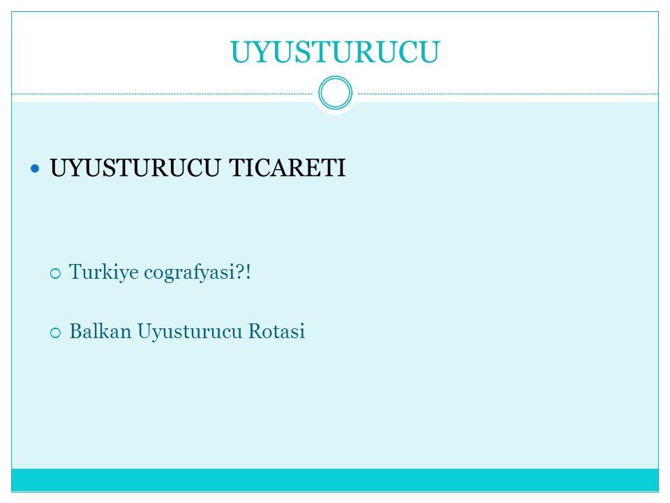 UYUSTURUCU UYUSTURUCU TICARETI  Turkiye cografyasi?!  Balkan Uyusturucu Rotasi
