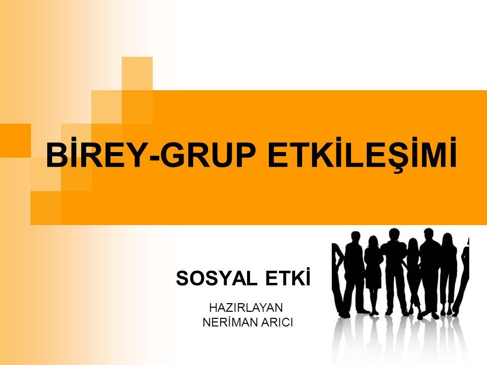 BİREY-GRUP ETKİLEŞİMİ SOSYAL ETKİ HAZIRLAYAN NERİMAN ARICI