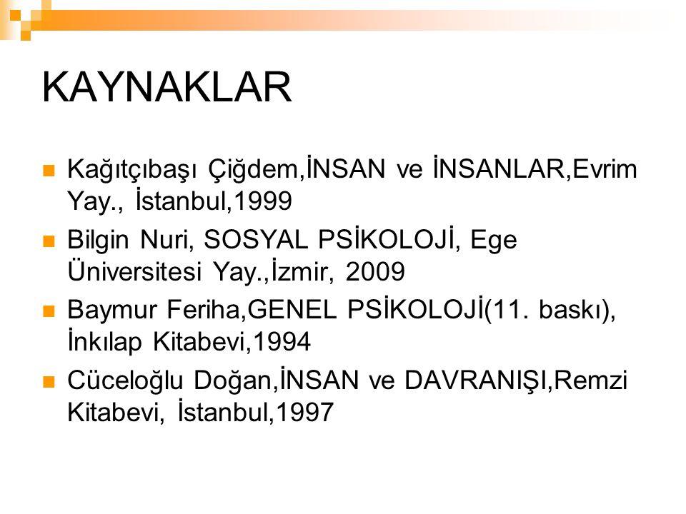 KAYNAKLAR Kağıtçıbaşı Çiğdem,İNSAN ve İNSANLAR,Evrim Yay., İstanbul,1999 Bilgin Nuri, SOSYAL PSİKOLOJİ, Ege Üniversitesi Yay.,İzmir, 2009 Baymur Feriha,GENEL PSİKOLOJİ(11.