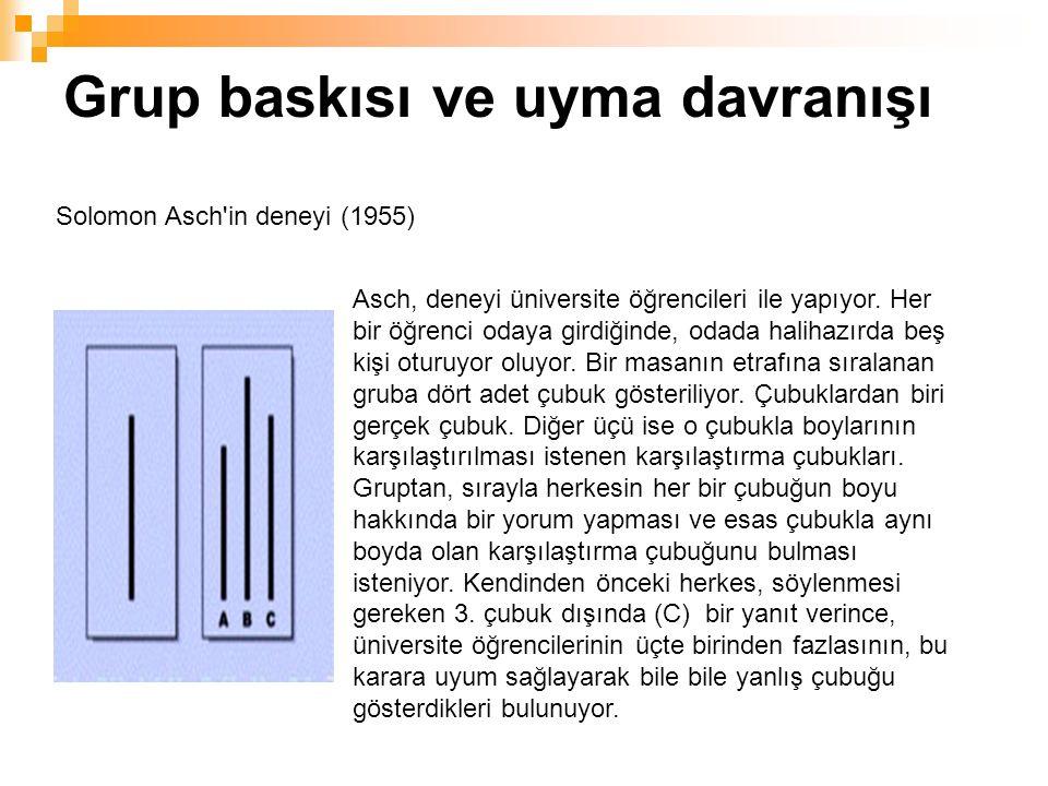 Grup baskısı ve uyma davranışı Asch, deneyi üniversite öğrencileri ile yapıyor.