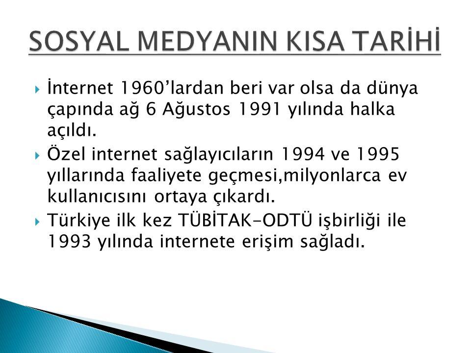  İnternet 1960'lardan beri var olsa da dünya çapında ağ 6 Ağustos 1991 yılında halka açıldı.  Özel internet sağlayıcıların 1994 ve 1995 yıllarında f
