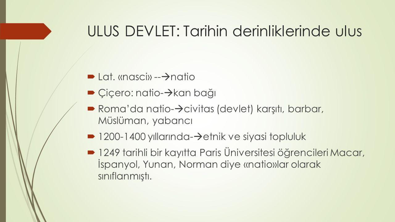 ULUS DEVLET: Tarihin derinliklerinde ulus  Lat.