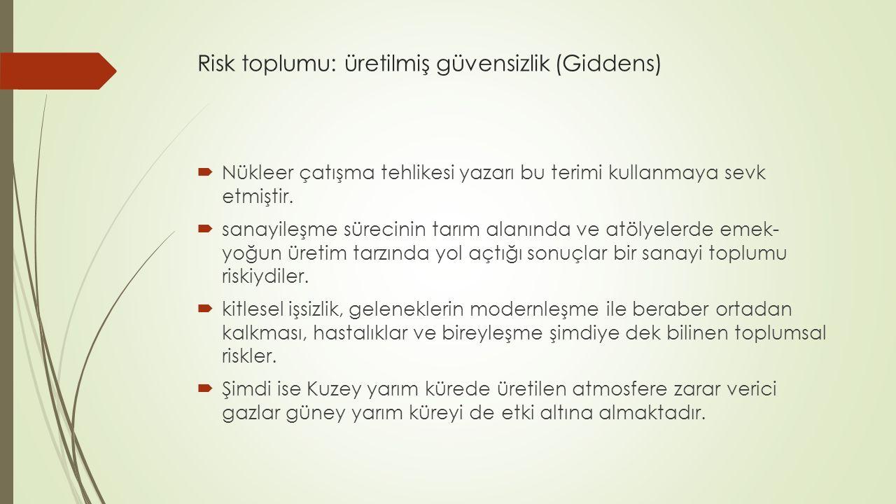 Risk toplumu: üretilmiş güvensizlik (Giddens)  Nükleer çatışma tehlikesi yazarı bu terimi kullanmaya sevk etmiştir.