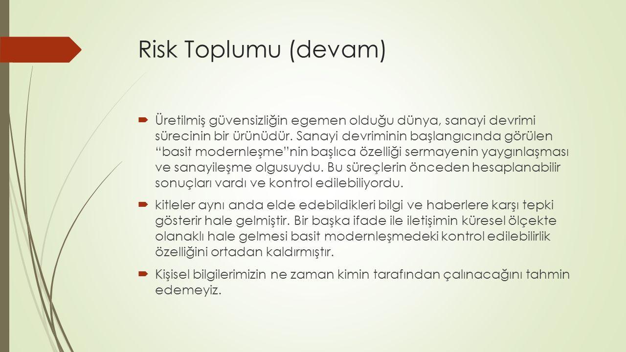 Risk Toplumu (devam)  Üretilmiş güvensizliğin egemen olduğu dünya, sanayi devrimi sürecinin bir ürünüdür.