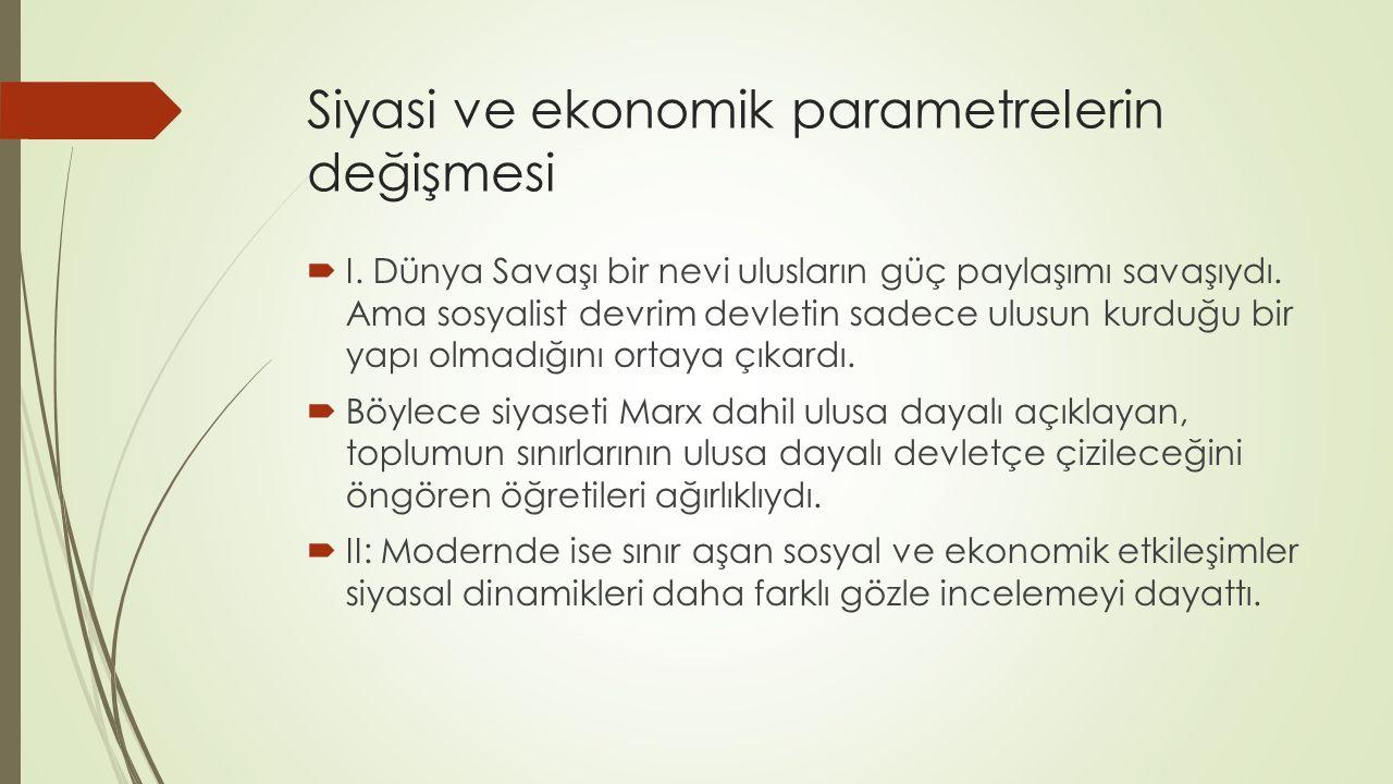Siyasi ve ekonomik parametrelerin değişmesi  I.