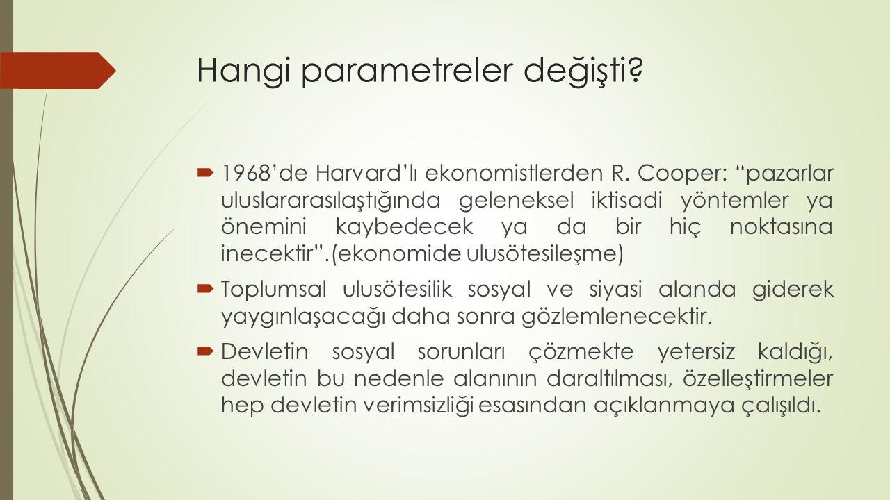 """Hangi parametreler değişti?  1968'de Harvard'lı ekonomistlerden R. Cooper: """"pazarlar uluslararasılaştığında geleneksel iktisadi yöntemler ya önemini"""