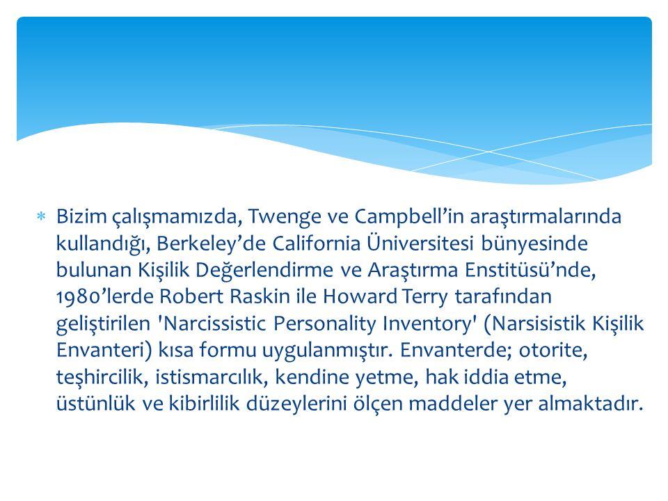  Bizim çalışmamızda, Twenge ve Campbell'in araştırmalarında kullandığı, Berkeley'de California Üniversitesi bünyesinde bulunan Kişilik Değerlendirme