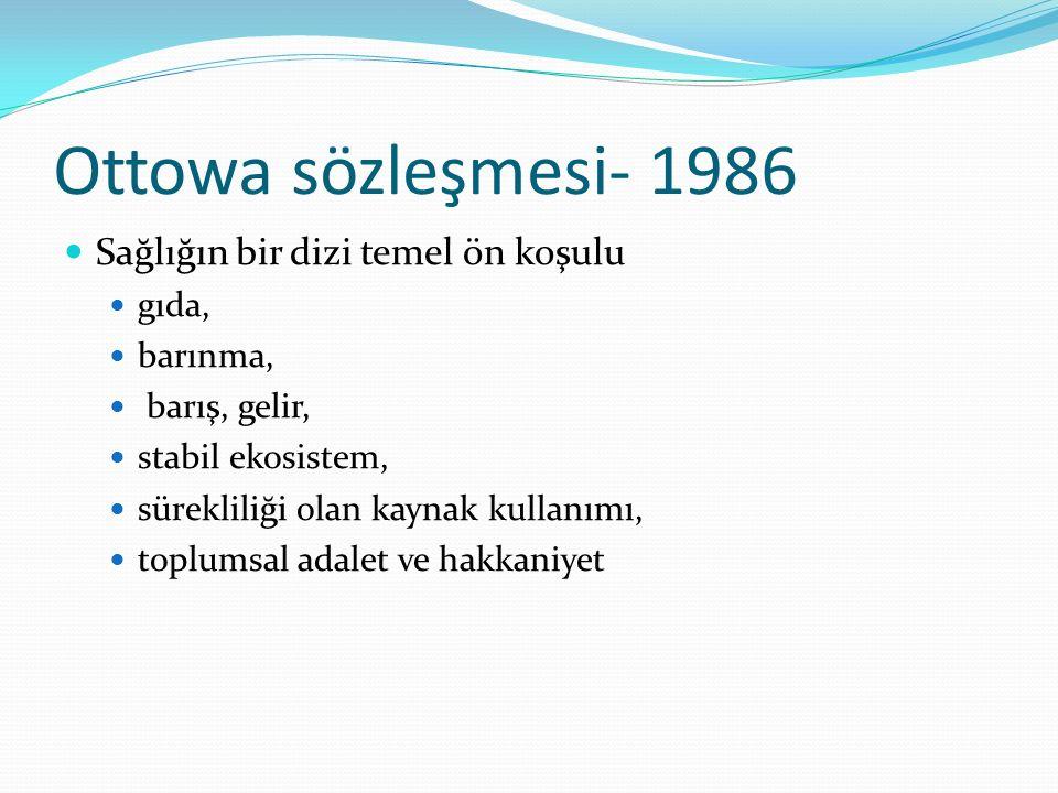 Ottowa sözleşmesi- 1986 Sağlığın bir dizi temel ön koşulu gıda, barınma, barış, gelir, stabil ekosistem, sürekliliği olan kaynak kullanımı, toplumsal adalet ve hakkaniyet