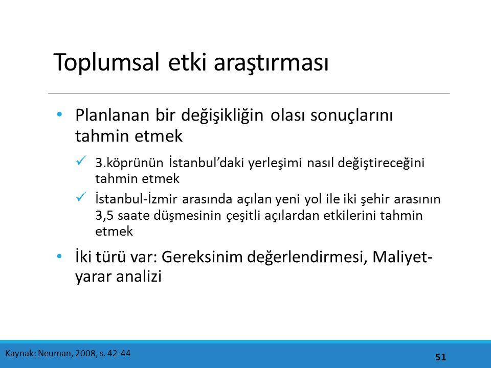 Toplumsal etki araştırması Planlanan bir değişikliğin olası sonuçlarını tahmin etmek 3.köprünün İstanbul'daki yerleşimi nasıl değiştireceğini tahmin e
