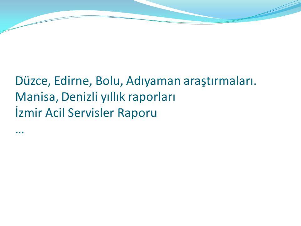 Düzce, Edirne, Bolu, Adıyaman araştırmaları. Manisa, Denizli yıllık raporları İzmir Acil Servisler Raporu …