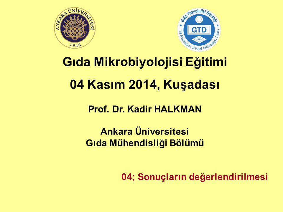 Gıda Mikrobiyolojisi Eğitimi 04 Kasım 2014, Kuşadası Prof. Dr. Kadir HALKMAN Ankara Üniversitesi Gıda Mühendisliği Bölümü 04; Sonuçların değerlendiril