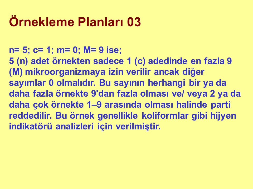 Örnekleme Planları 03 n= 5; c= 1; m= 0; M= 9 ise; 5 (n) adet örnekten sadece 1 (c) adedinde en fazla 9 (M) mikroorganizmaya izin verilir ancak diğer s