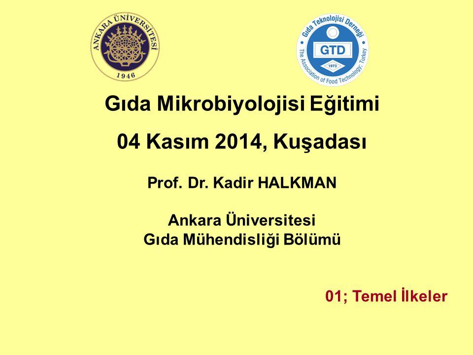 Gıda Mikrobiyolojisi Eğitimi 04 Kasım 2014, Kuşadası Prof. Dr. Kadir HALKMAN Ankara Üniversitesi Gıda Mühendisliği Bölümü 01; Temel İlkeler