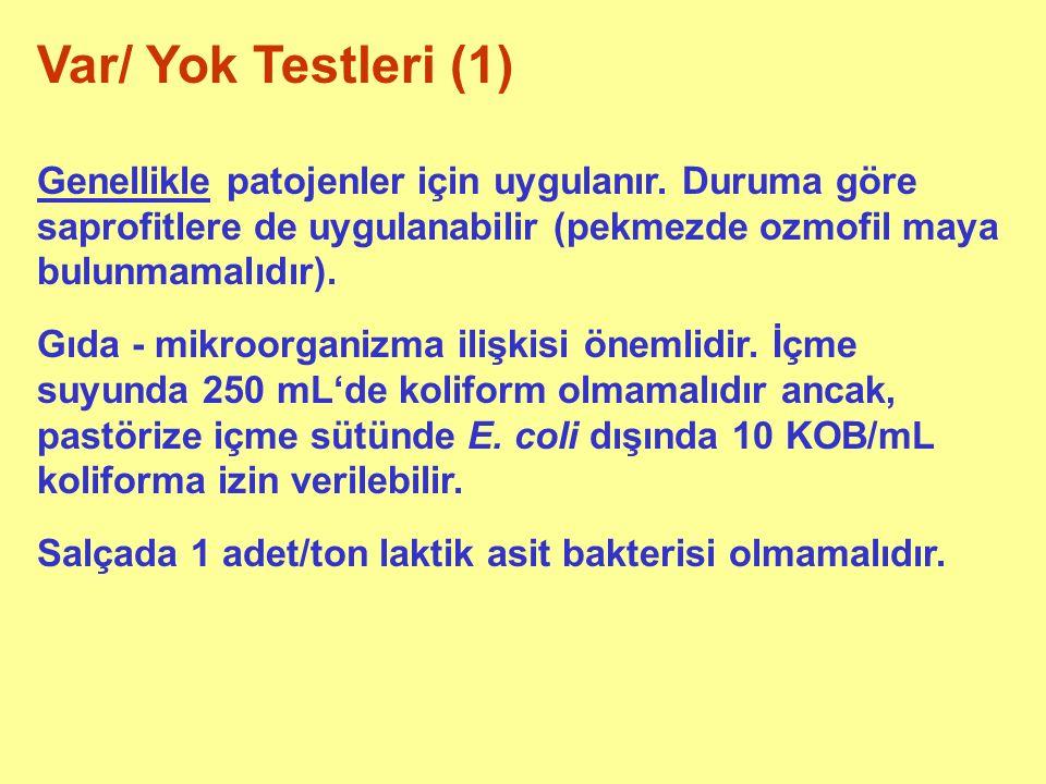 Var/ Yok Testleri (1) Genellikle patojenler için uygulanır. Duruma göre saprofitlere de uygulanabilir (pekmezde ozmofil maya bulunmamalıdır). Gıda - m