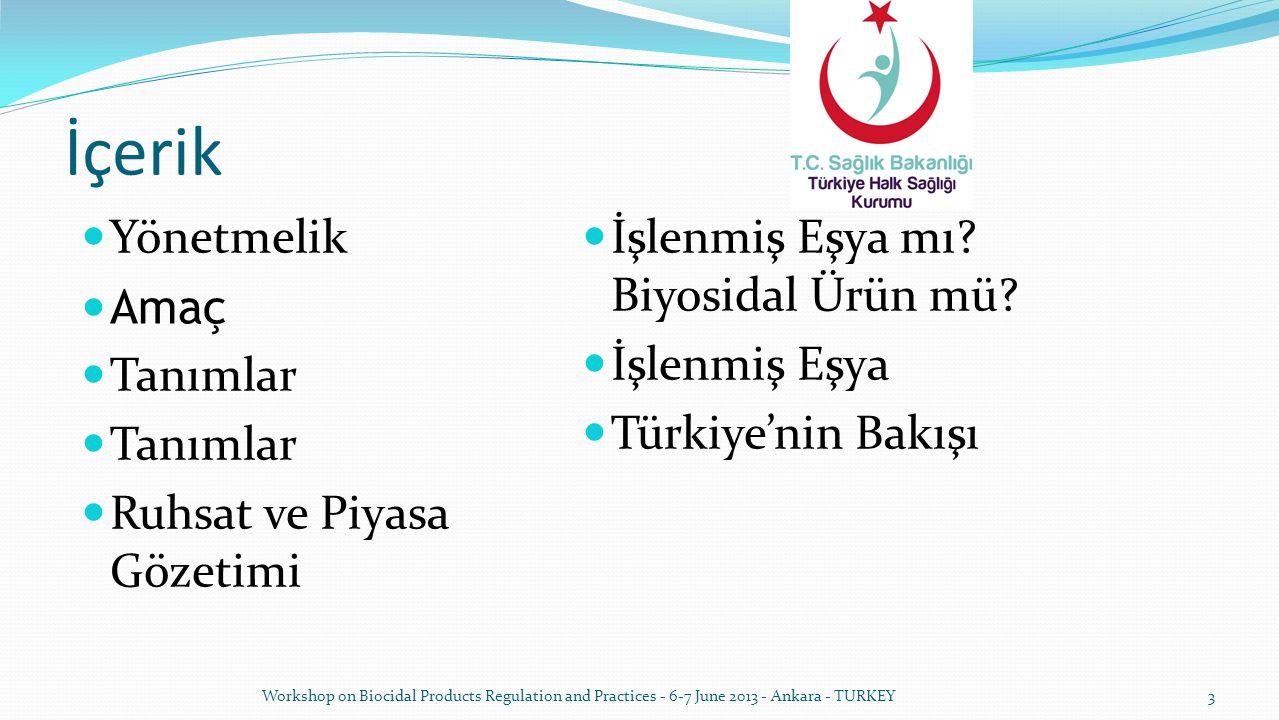 İçerik Yönetmelik Amaç Tanımlar Ruhsat ve Piyasa Gözetimi İşlenmiş Eşya mı? Biyosidal Ürün mü? İşlenmiş Eşya Türkiye'nin Bakışı Workshop on Biocidal P