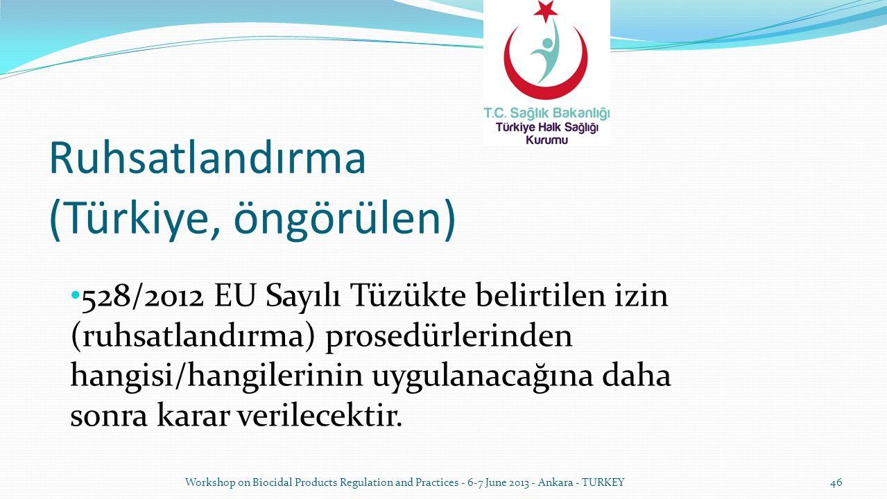 Ruhsatlandırma (Türkiye, öngörülen) 528/2012 EU Sayılı Tüzükte belirtilen izin (ruhsatlandırma) prosedürlerinden hangisi/hangilerinin uygulanacağına d